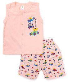 Cucumber Sleeveless T-Shirt And Shorts Set Cars Print - Peach