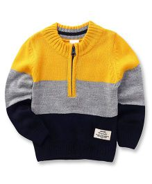 Babyhug Full Sleeves Pullover Sweater With Half Zipper Opening - Yellow