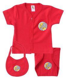 Cucumber Half Sleeves Vest Cloth Nappy & Bib Set Elephant Print - Red