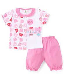 Cucumber Short Sleeves Top And Pants Bear Print - White Light Pink