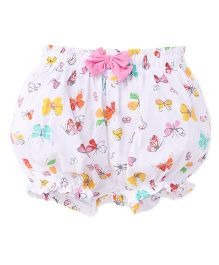 Cucumber Printed Bloomer Bow Applique - White