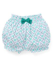 Cucumber Bloomer Bow Applique - White Green