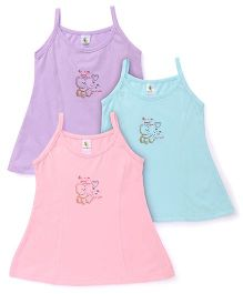 Cucumber Singlet Frocks Pack of 3 Pink Blue Purple (Prints May Vary)
