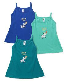 Cucumber Singlet Frocks Pack of 3 - Sea & Dark Green Royal Blue