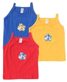 Cucumber Singlet Slips Pack of 3 Royal Blue Yellow Red (Prints May Vary)