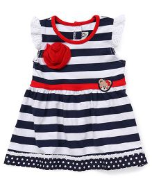 Bear Story Stripe Print Dress With Bear Design - Blue & Navy Blue