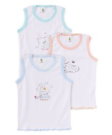Cucumber Sleeveless Vests Set of 3 - White Blue Peach