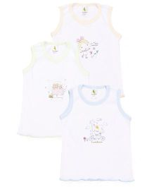 Cucumber Sleeveless Vests Set of 3 - Yellow Blue Green
