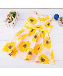 Angel Closet Sleeveless Sunflower Print Dress - Yellow White