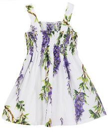 Angel Closet Singlet Dress With Smocked Yoke And Floral Print - White Purple Green