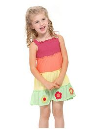 Angel Closet Singlet Dress With Smocked Yoke And Floral Patches - Multicolor