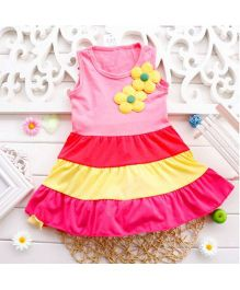Angel Closet Sleeveless Candy Colors Dress With Floral Applique - Pink