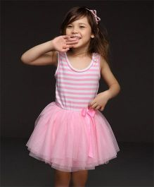 Angel Closet Sleeveless Tutu Party Wear Dress - Pink White