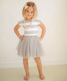 Angel Closet Short Sleeves Striped Party Dress - Grey