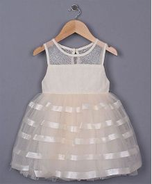 Angel Closet Sleeveless Elegant Party Wear Dress With Net And Ribbons - Beige
