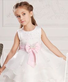 Angel Closet Sleeveless Exquisite Party Dress With Bow - White Pink