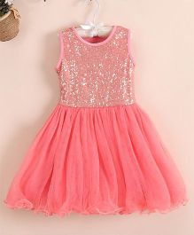 Angel Closet Sleeveless Sequined Party Wear Dress - Peach