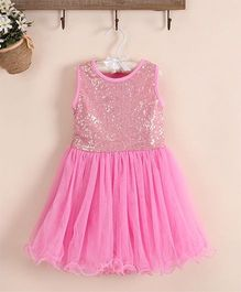 Angel Closet Sleeveless Sequined Party Wear Dress - Pink