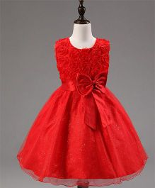 Angel Closet Sleeveless Princess Flower Tutu Party Dress - Red