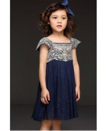 Angel Closet Girls Elegant Shimmer Party Dress with Lace Blue 6-7 Yrs Polyester