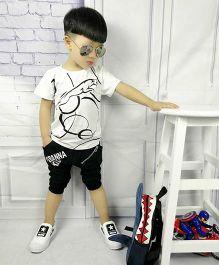 Aww Hunnie Abstract Print Tee & Shorts Set - White & Black