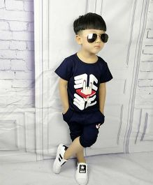Aww Hunnie Yo Printed Tee & Capri Set - Navy Blue