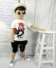 Aww Hunnie Hen Printed Tee & Capri Set - White Black & Red