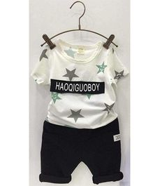 Aww Hunnie Star Printed Tee & Capri Set - Black White & Grey