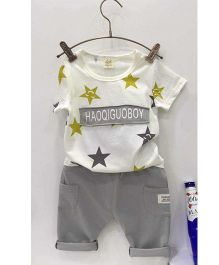 Aww Hunnie Star Printed Tee & Capri Set - White & Grey