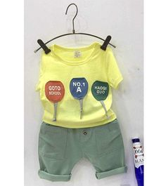 Aww Hunnie Patch Work Tee & Capri Set - Yellow & Greyish Green
