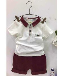 Aww Hunnie Collard Tee & Shorts Set - White & Brown