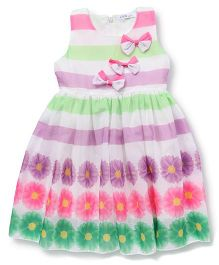 Ivaer Flower Printed Dress With Tiny Bows - White & Multicolor