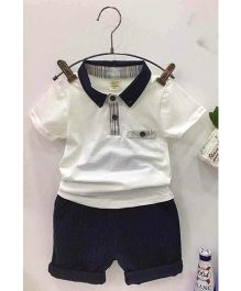 Aww Hunnie Collard Tee & Capri Set - White & Blue