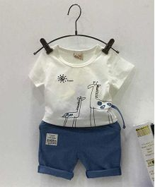 Aww Hunnie Giraffe Printed Tee & Shorts Set - White & Blue