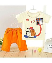 Aww Hunnie Mouse Printed Tee & Capri Set - Light Yellow & Orange