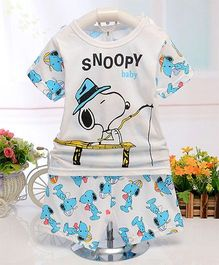 Aww Hunnie Snoopy Baby Printed Night Tee & Shorts Set - Off White & Blue