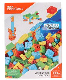 Mega Bloks Vibrant Box of Blocks Multicolor - 130 Pieces