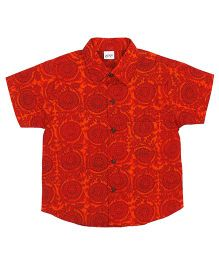Raghav Traditional Motif Printed Shirt - Brick Red