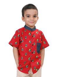 Raghav Robot Printed Shirt - Red