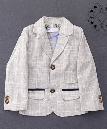 ZY & UP Full Sleeves Party Blazer With Front Pockets - Creamish Grey