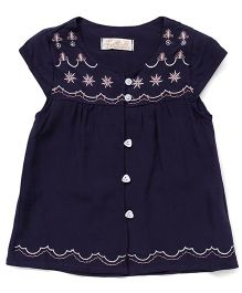TBB Pretty Top With Embroidered Neck & Waist - Dark Blue