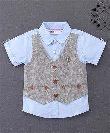 ZY & UP Mock Waistcoat Shirt With Bow Tie - Blue