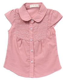 TBB Floral Embroidered Shirt - Light Coral