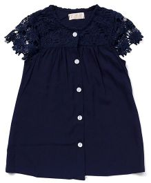 TBB Short Sleeves Top With Floral Threadwork On Sleeves - Navy Blue