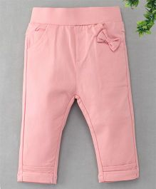 TBB Bow Applique at Front 3/4th Track Pant - Pink