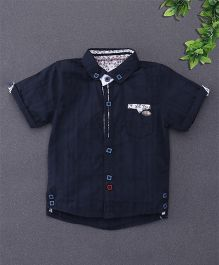 ZY & UP Shirt With Patch Pocket At Front - Navy Blue
