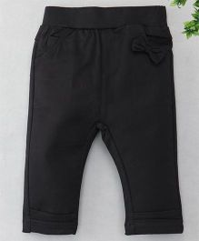 TBB Bow Applique at Front 3/4th Track Pant - Black