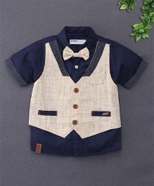 ZY & UP Mock Jacket Shirt With Bow Tie - Navy Blue