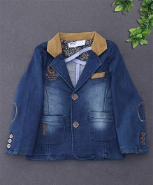 ZY & UP Trendy Denim Jacket With Two Front Pockets - Blue