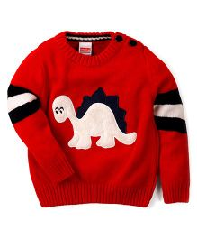 Babyhug Full Sleeves Sweater Dinosaur Patch - Red